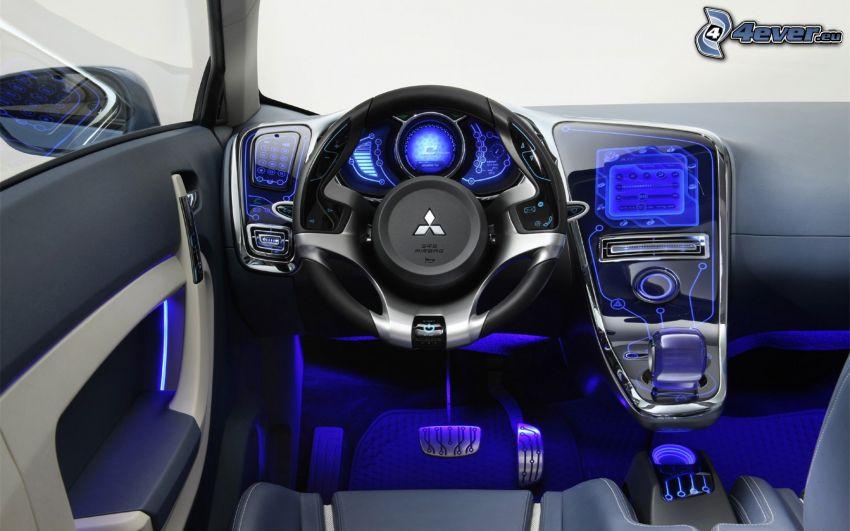 Mitsubishi i-MiEV, interiör, ratt, instrumentbräda, pedaler