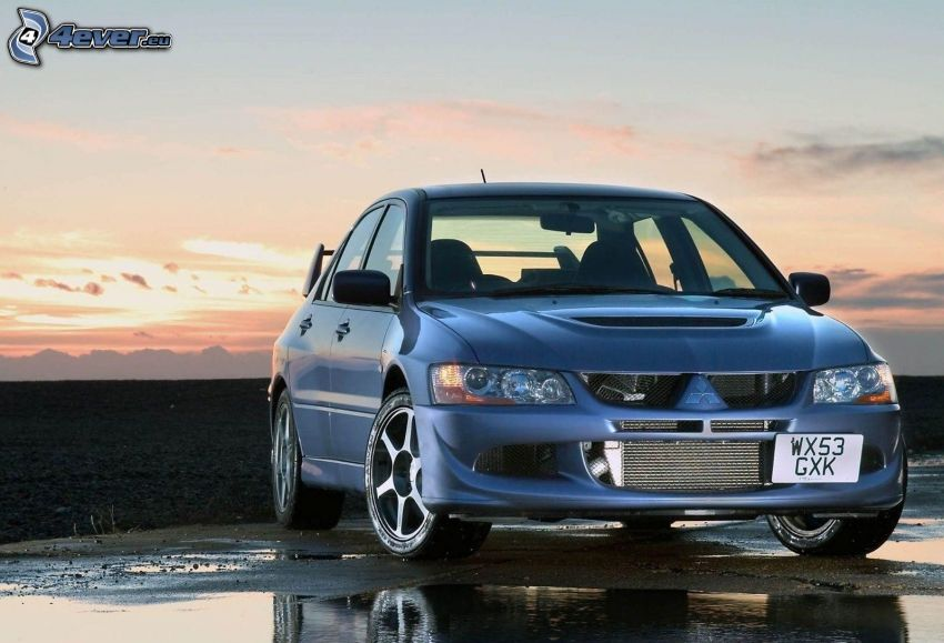 Mitsubishi Lancer Evolution, vattenpöl, solnedgång
