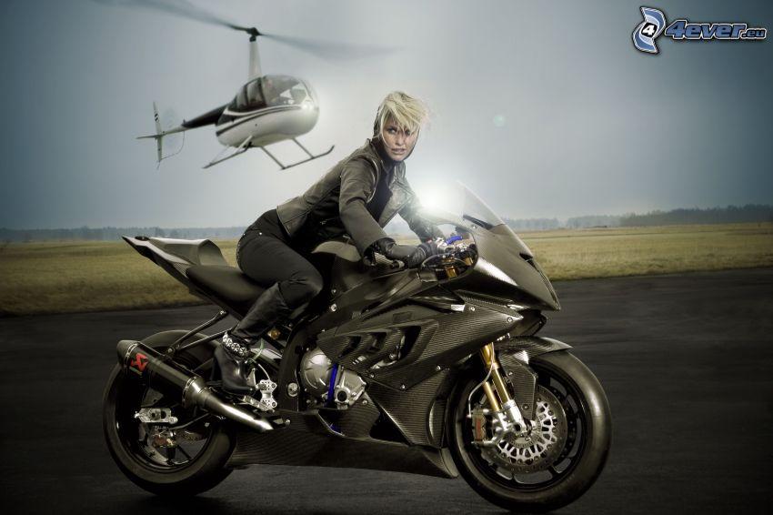 BMW motorcykel, motorcykelåkerska, person helikopter