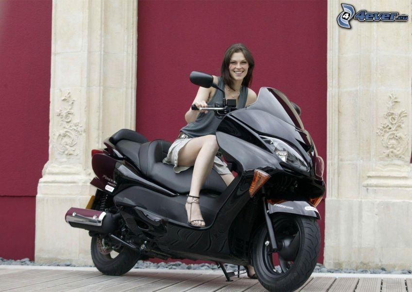 brunett, motorcykel