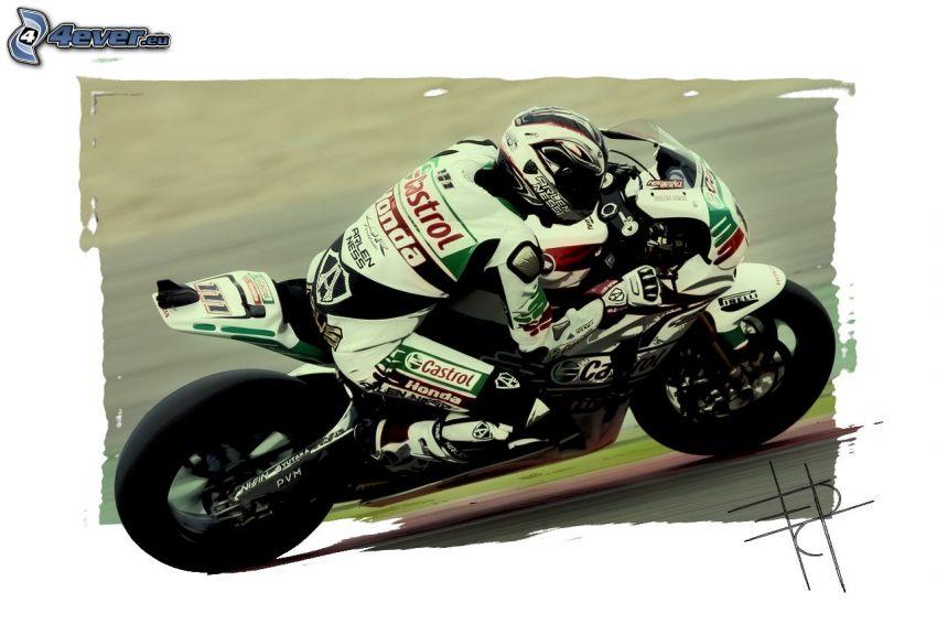 Honda, motorcykel, motorcykelförare, fart