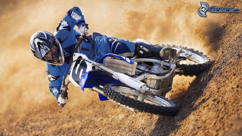 motocross, motorcykel, motorcykelförare, jord, damm