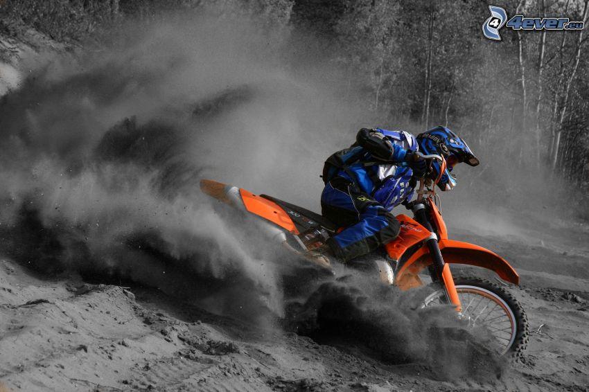 motocross, motorcykelförare, damm