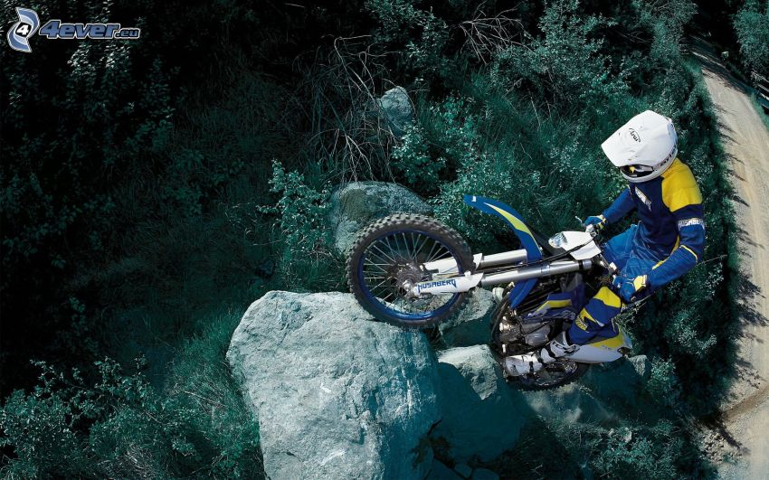 motocross, motorcykelförare, klippa