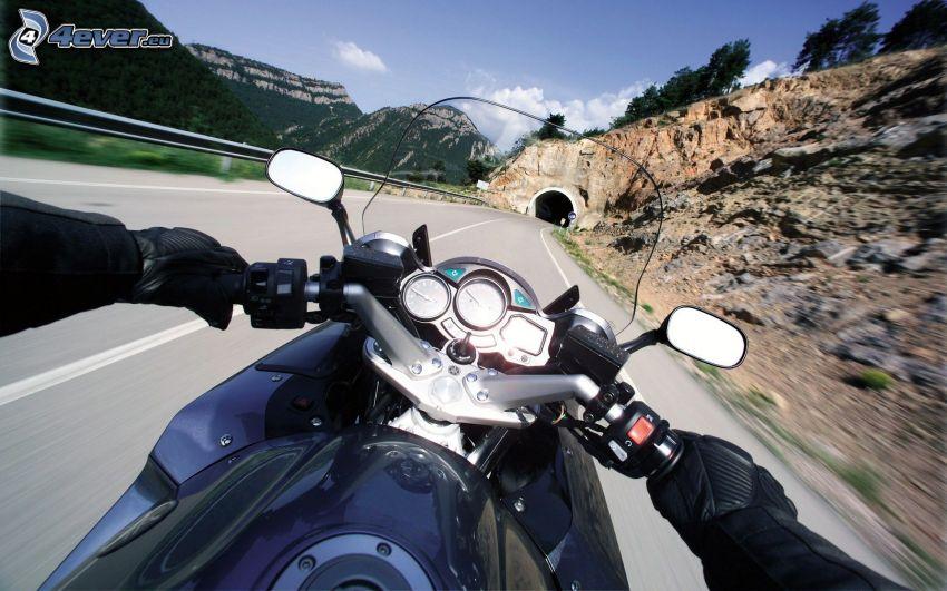 motorcykel, händer, tunnel, klippor