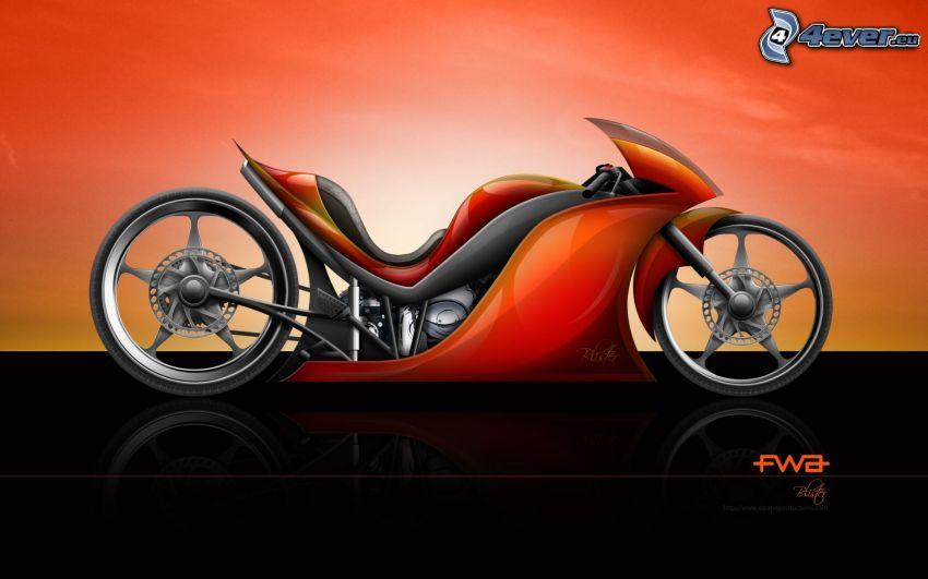 motorcykel, koncept, framtid, science fiction