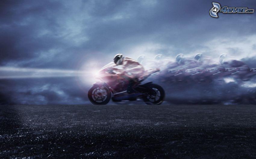 motorcykel, motorcykelförare, fart