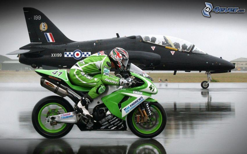 motorcykel, motorcykelförare, flygplan, fart