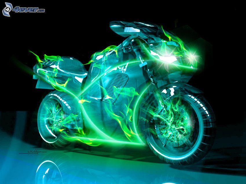 motorcykel, neon