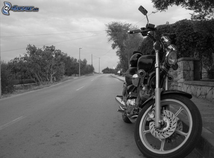 motorcykel, väg, svartvitt foto