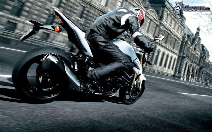 motorcykelförare, fart, Louvre