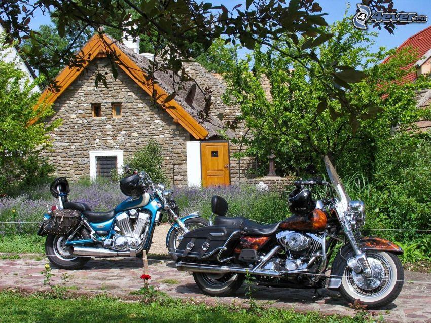 motorcyklar, chopper, trädgård