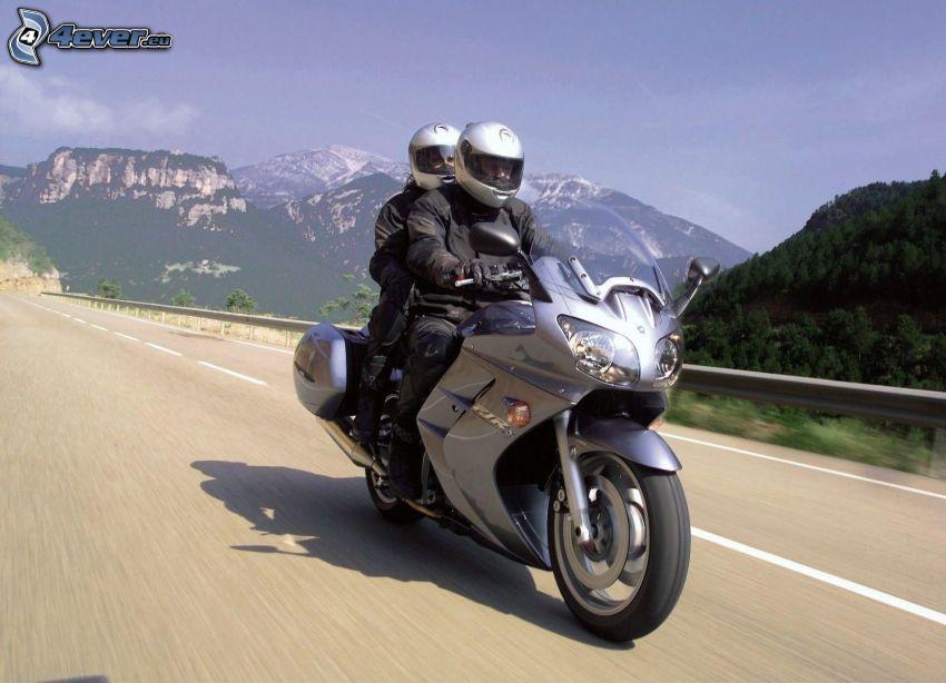 motorcyklister, väg, fart