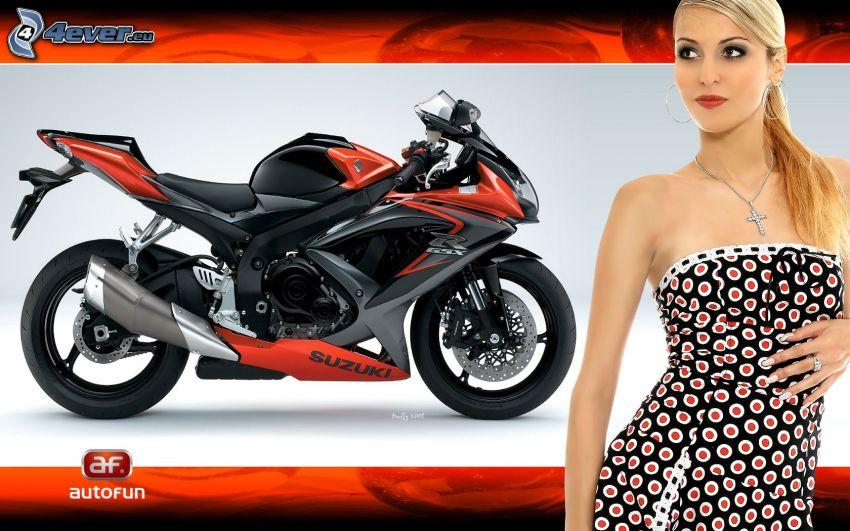 Suzuki, motorcykel, blondin, prickig klänning