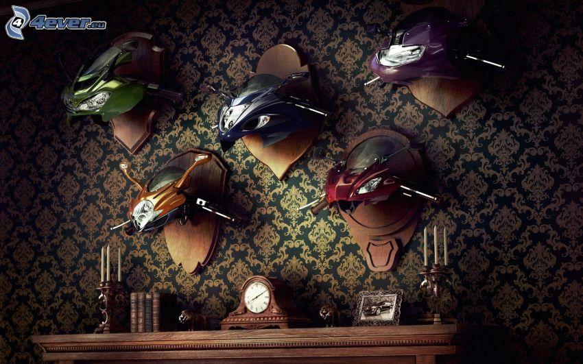 troféer, motorcyklar, vägg