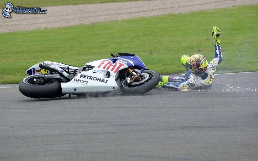 Yamaha, motorcykel, Valentino Rossi, olycka