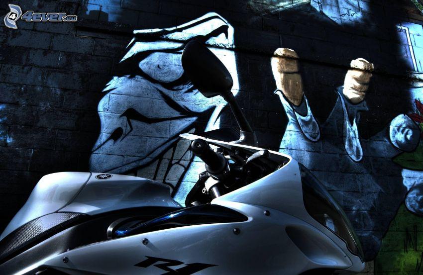 Yamaha R1, graffiti, vägg