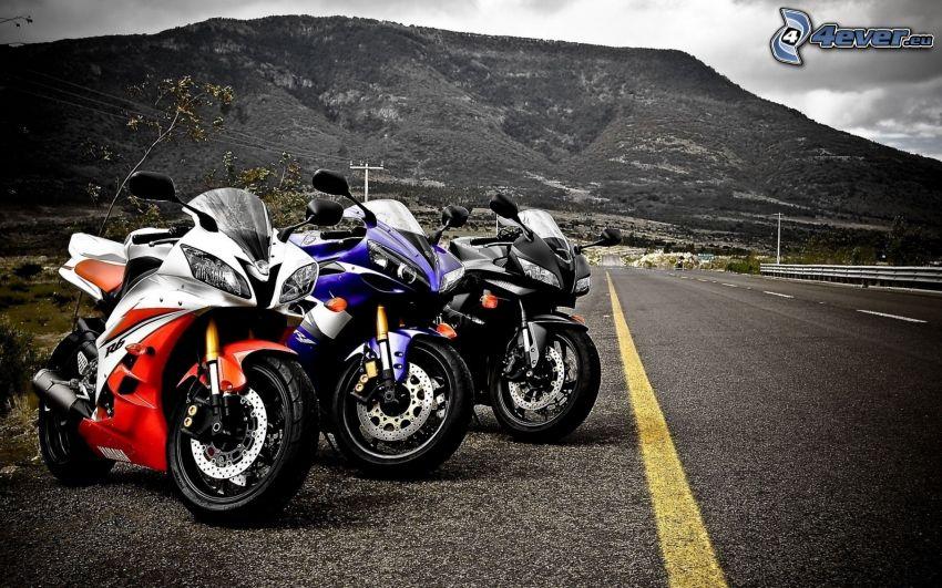 Yamaha R6, motorcyklar, väg, kulle