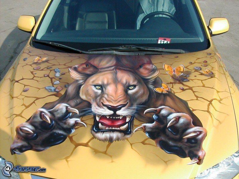 motorhuv, tiger