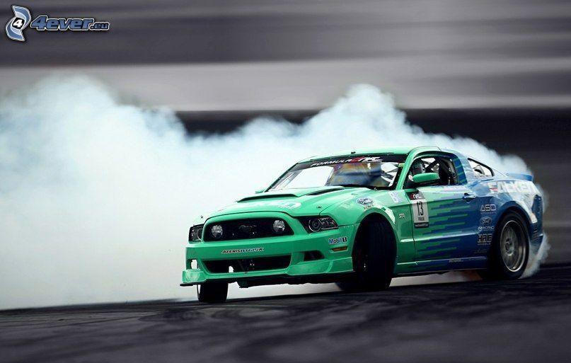 Ford Mustang, drifting, rök
