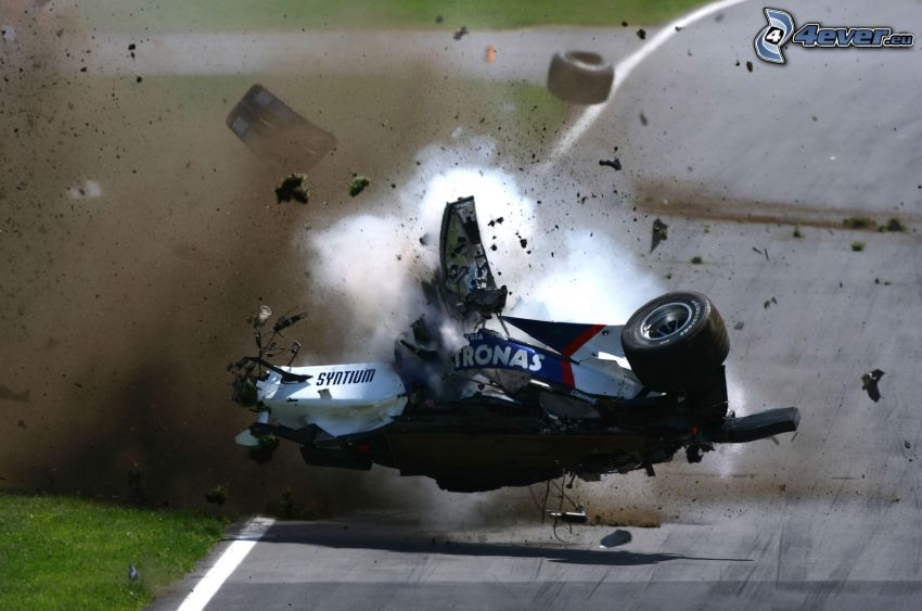 Formel 1, krasch, rök