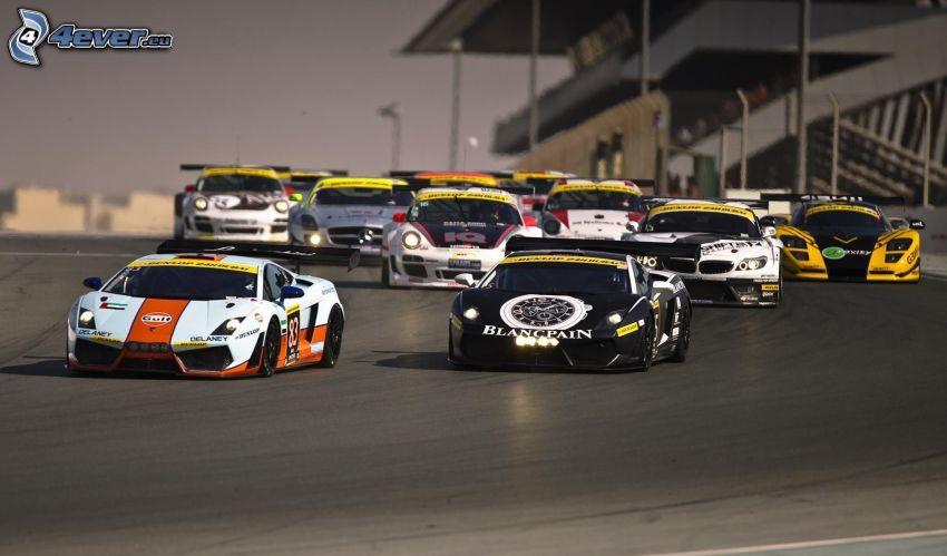 lopp, Lamborghini, BMW, Porsche, racerbil