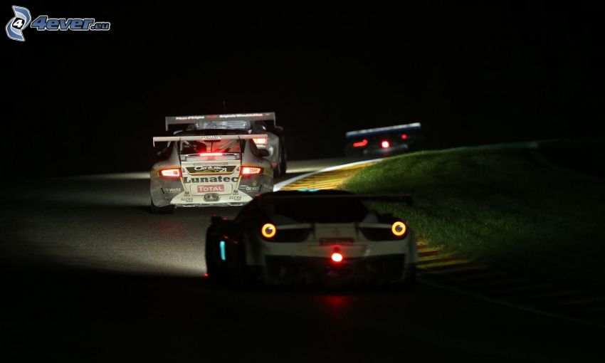 lopp, racerbil, natt