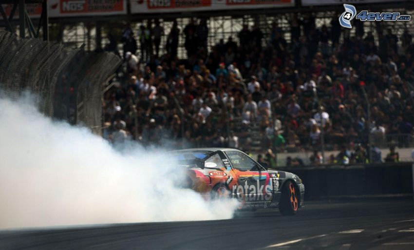 racerbil, drifting, rök, publik