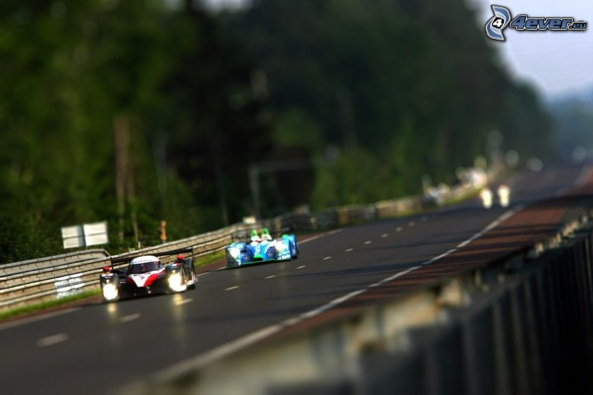 racerbil, lopp, diorama