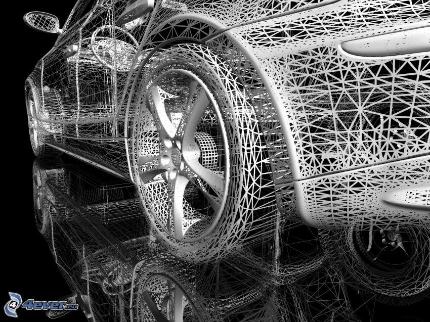 tecknad bil, spegling