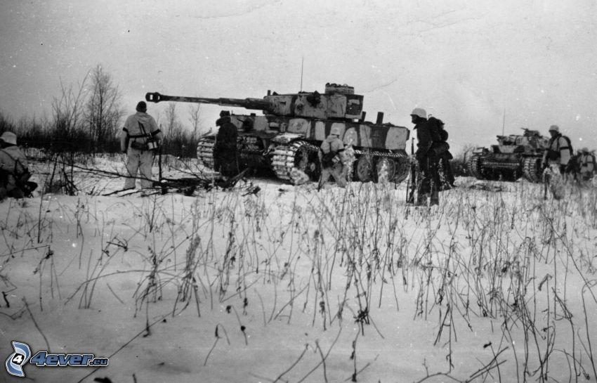 Tiger, tankar, snö, Wehrmacht, Andra världskriget