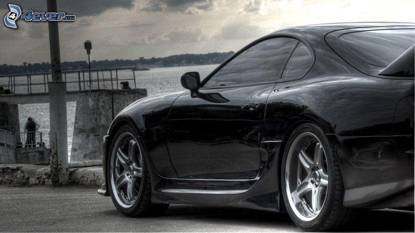Toyota, svartvitt foto