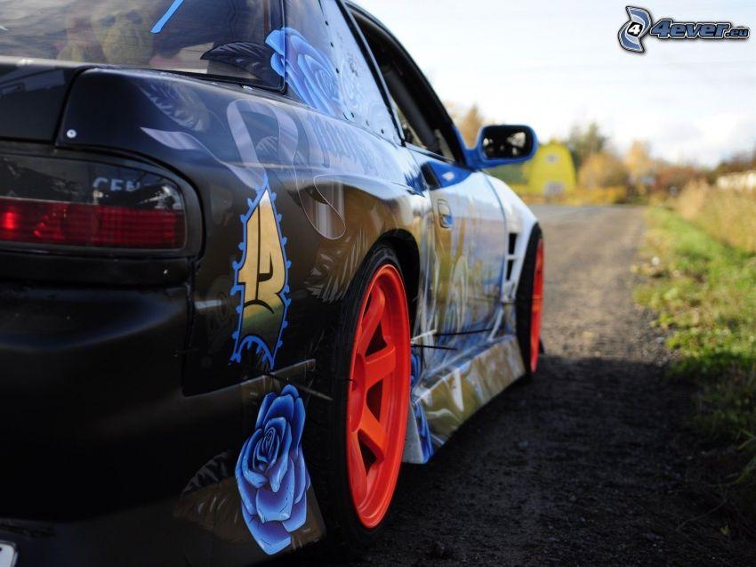 bil, tuning, blå ros, hjul
