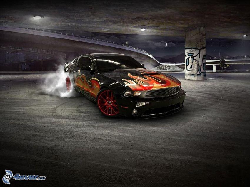 Ford Mustang, burnout, rök, eld, under bro