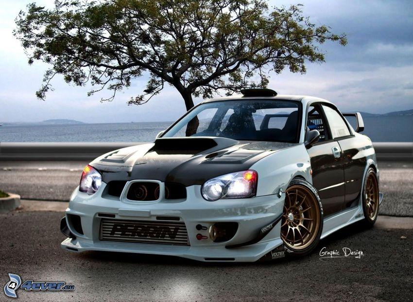 Subaru Impreza WRX, träd