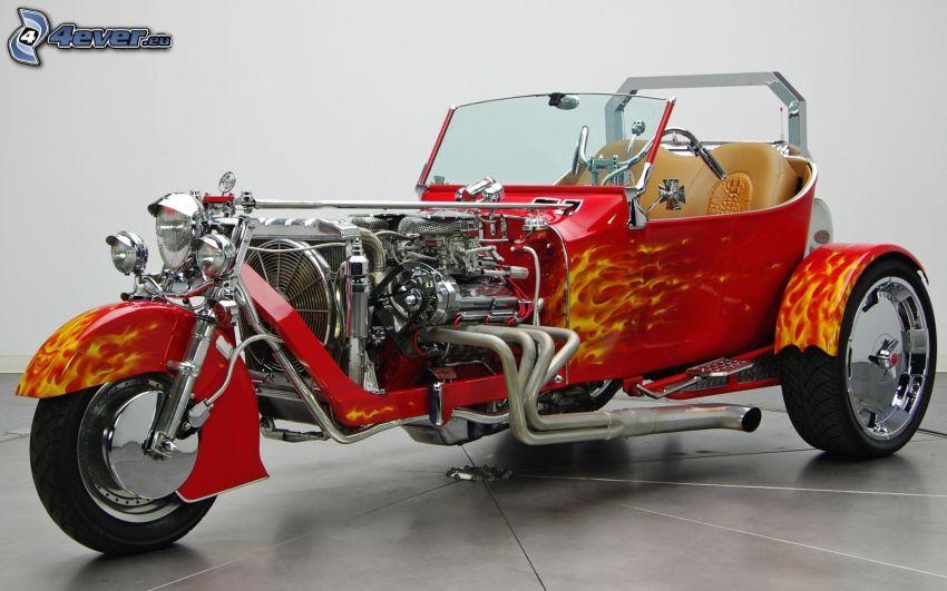 trehjuling, veteran, flammor