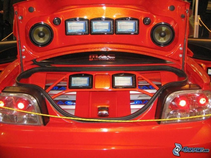 tuning, LCD, resväska, högtalare