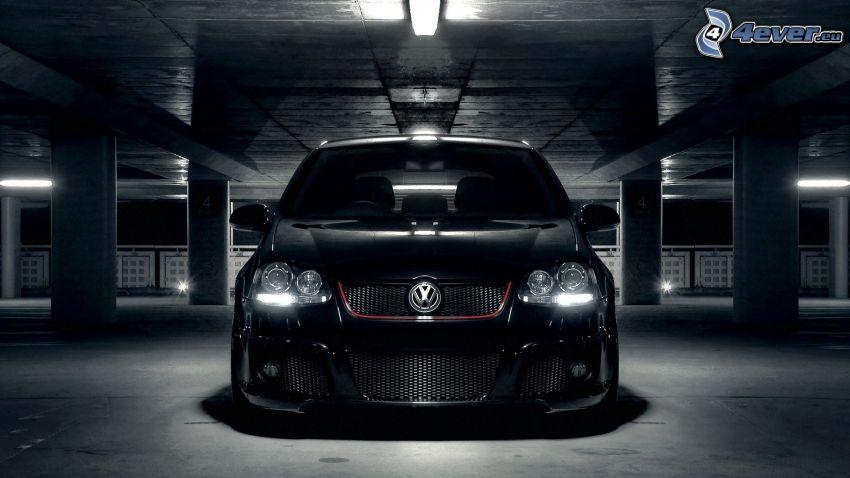 Volkswagen Golf GTI W12, tuning, ljus, garage
