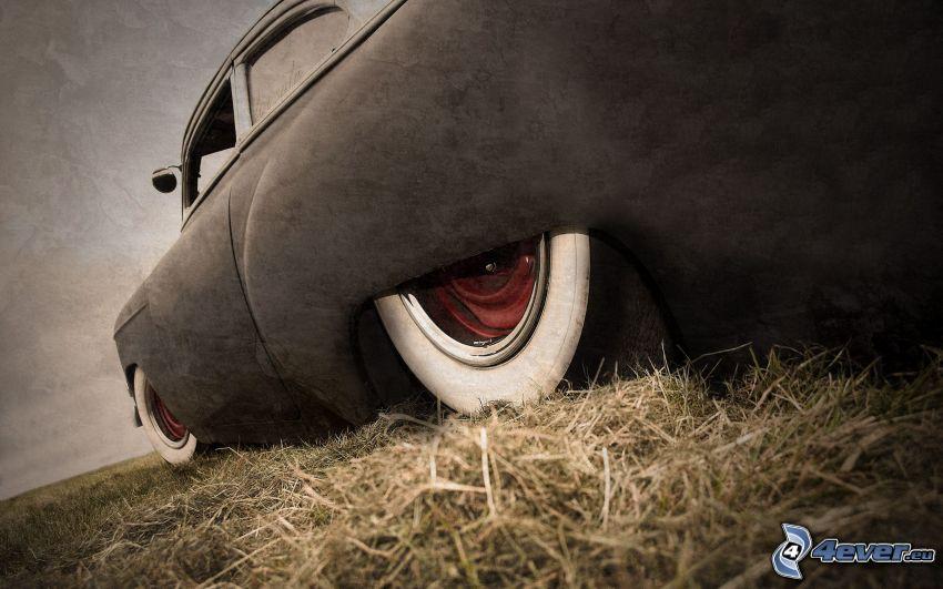 veteran, hjul, lowrider, hö