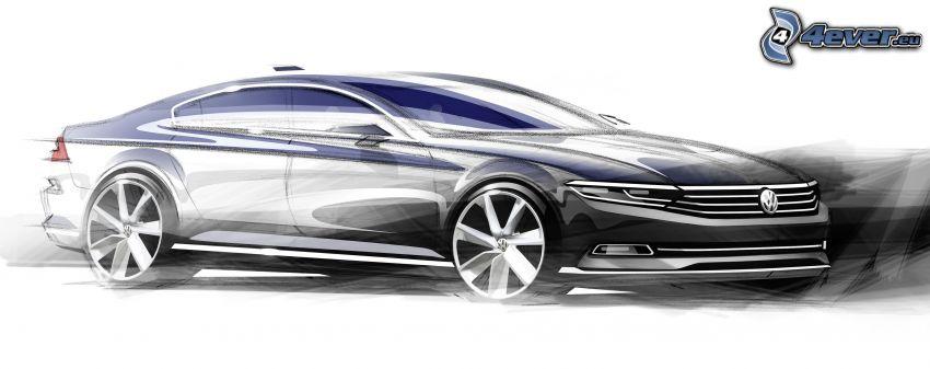 Volkswagen Passat, 2014, koncept, tecknad bil