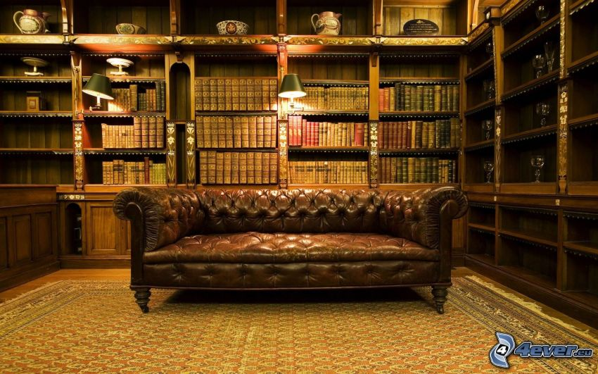 bibliotek, soffa