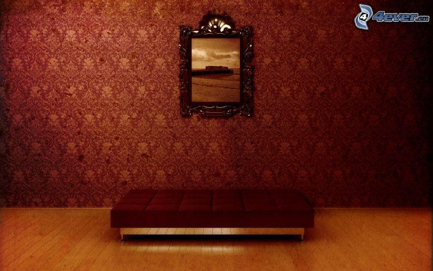 bild, vardagsrum, säte