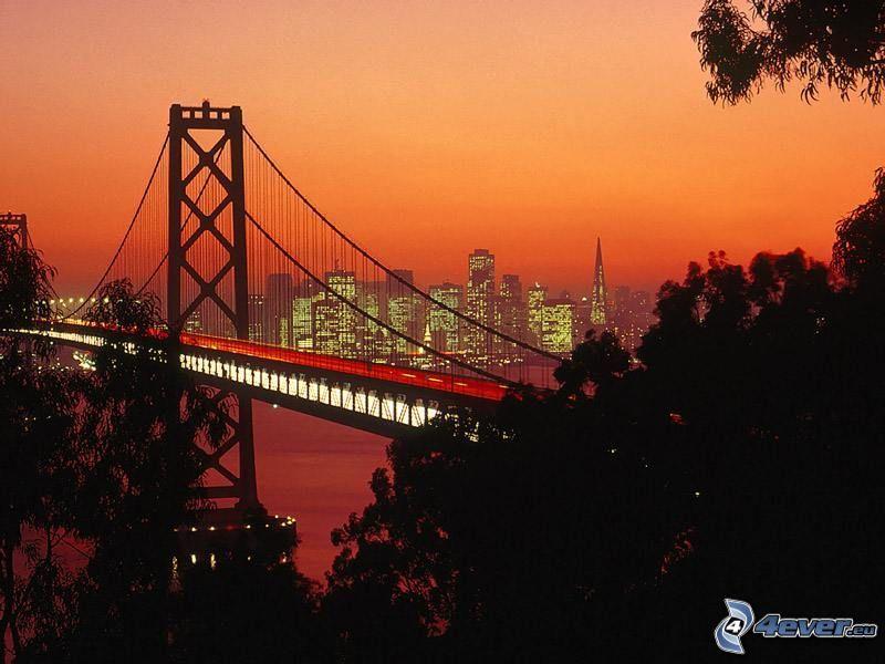 Bay Bridge, San Francisco, kvällsstad, motorvägsbro, ljus