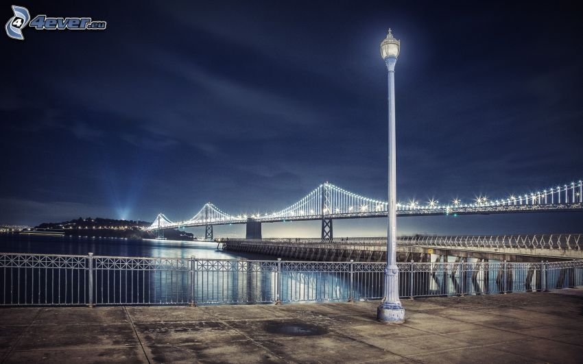 Bay Bridge, San Francisco, natt, lampa