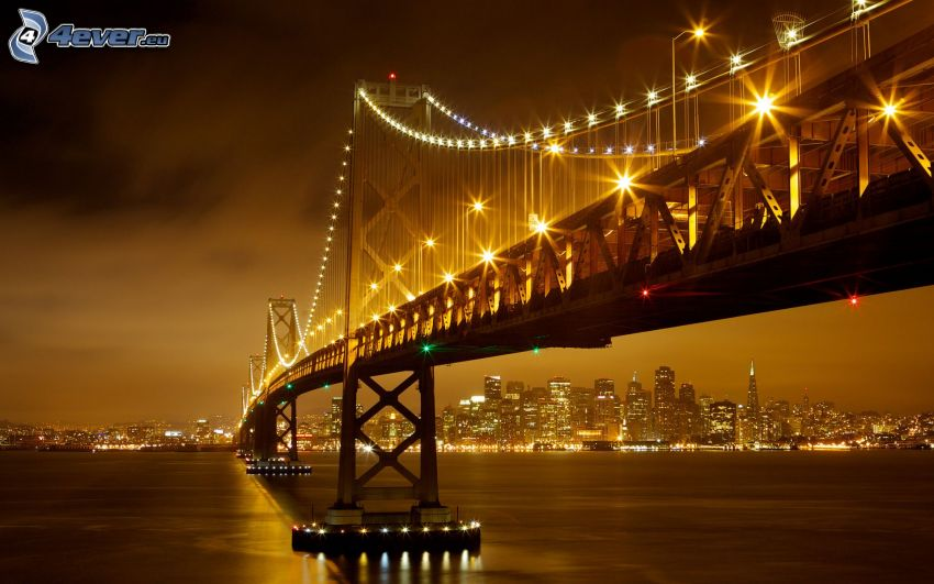 Bay Bridge, upplyst bro, San Francisco, nattstad