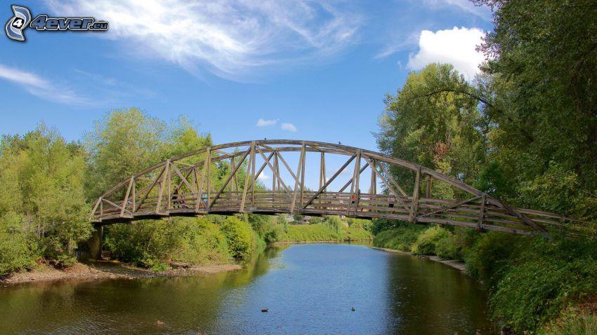 Bothell Bridge, träbro, flod, skog