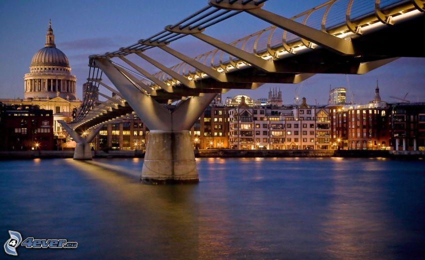 bro, London, kväll, Thames