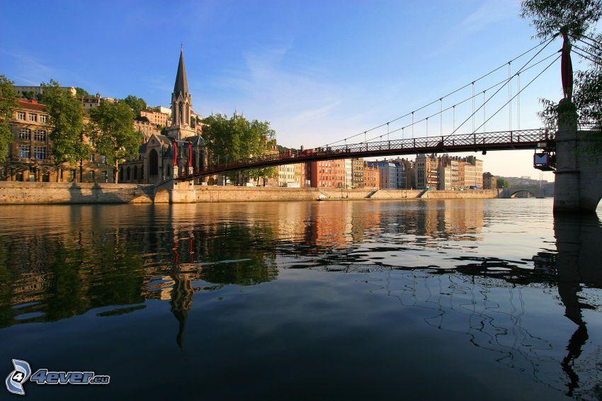 gångbro, Frankrike, Seine, kyrka