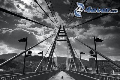 gångbro, himmel, moln