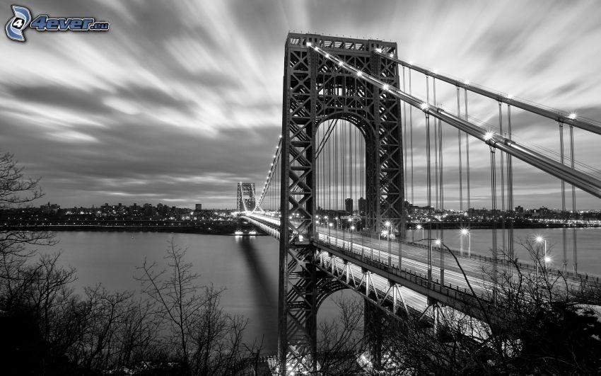 George Washington Bridge, svartvitt foto